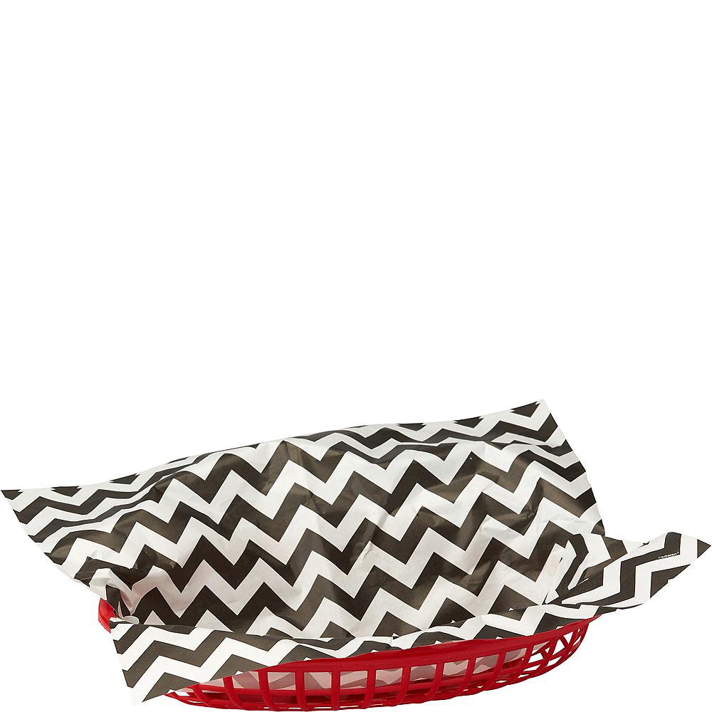 Black Chevron Paper Basket Liners 16ct Image #1