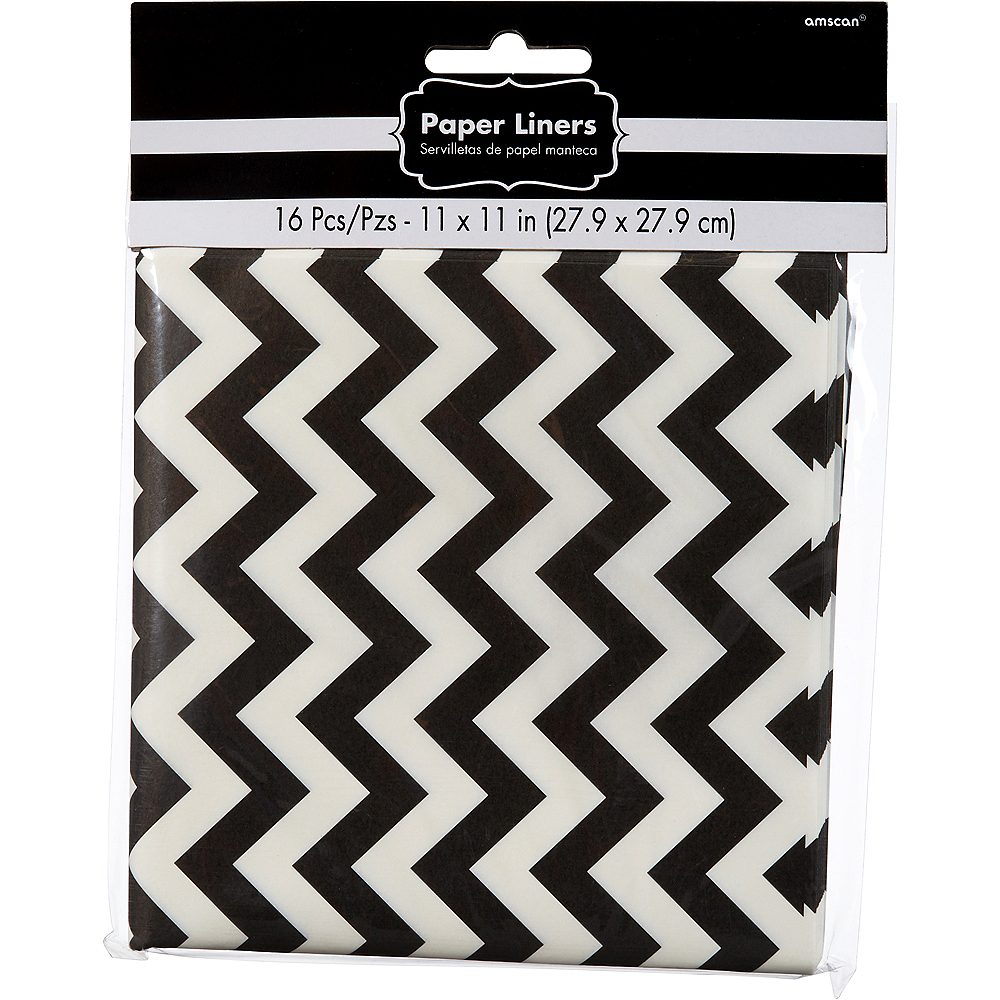 Black Chevron Paper Basket Liners 16ct Image #2