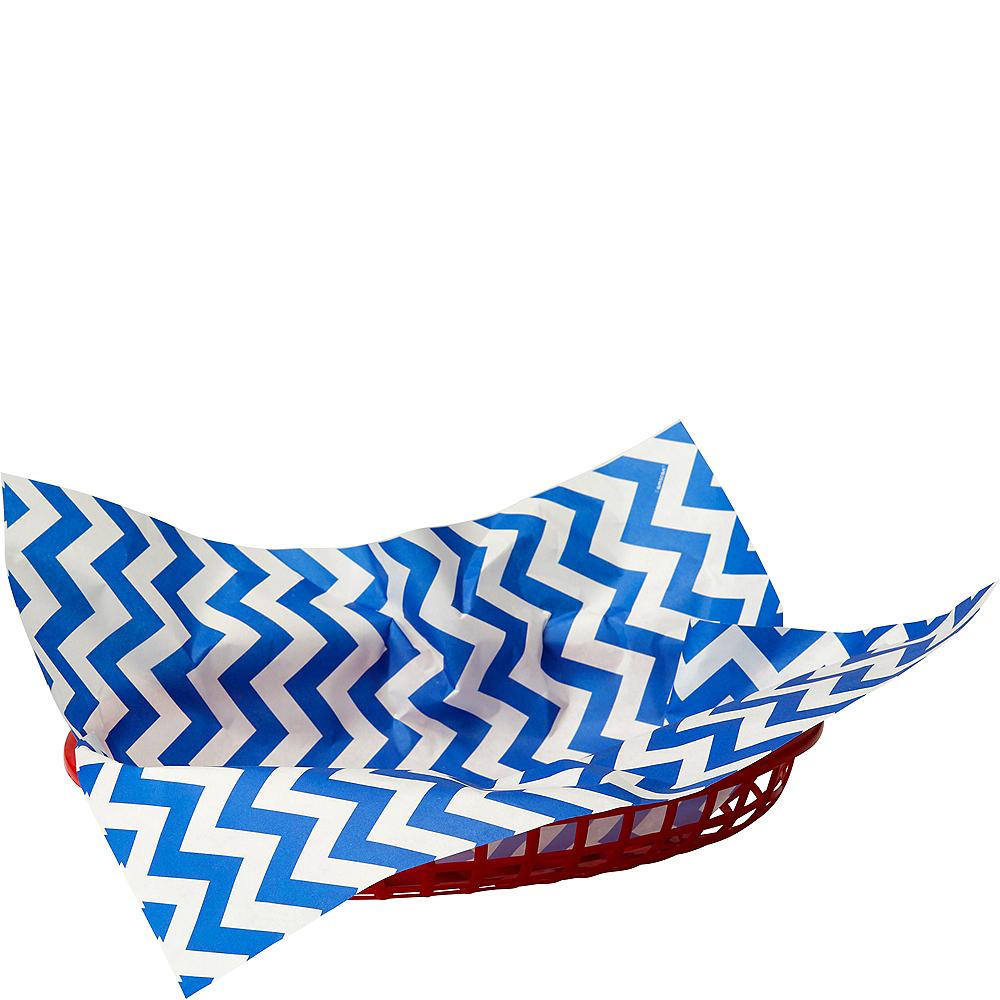 Bright Royal Blue Chevron Paper Basket Liners 16ct Image #1