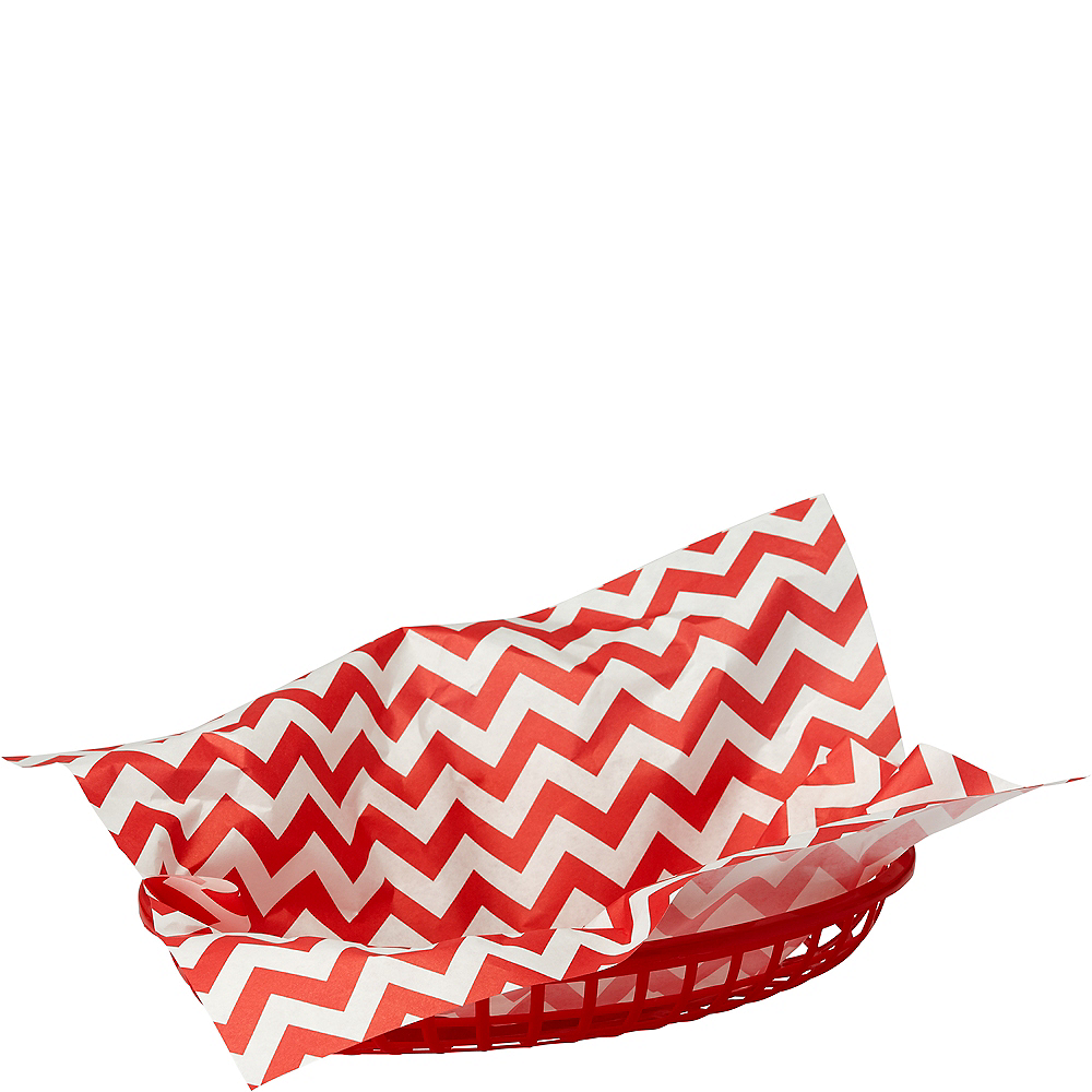 Red Chevron Paper Basket Liners 16ct Image #1