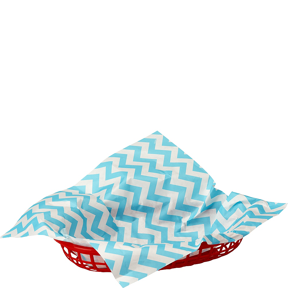 Nav Item for Caribbean Blue Chevron Paper Basket Liners 16ct Image #1