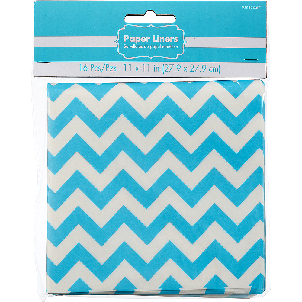 Nav Item for Caribbean Blue Chevron Paper Basket Liners 16ct Image #2