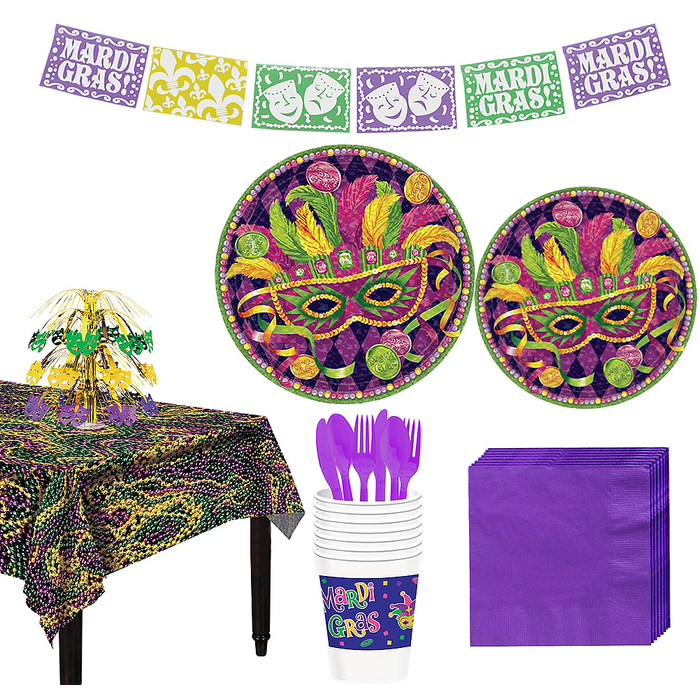 Masquerade Mardi Gras Basic Party Kit for 8 Guests Image #1