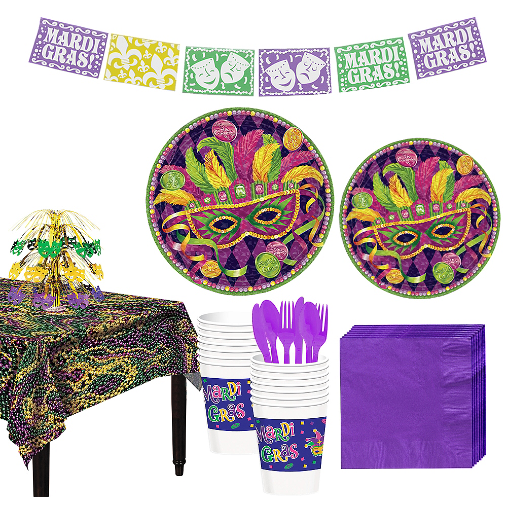 Masquerade Mardi Gras Basic Party Kit for 16 Guests Image #1