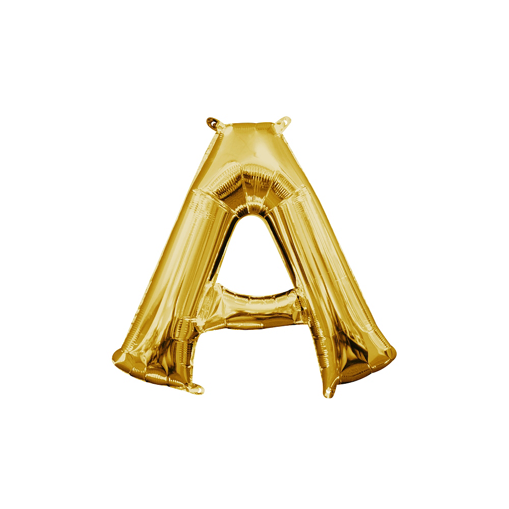 13in Air-Filled Gold Letter Balloon (A) Image #1