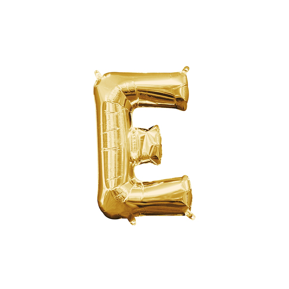 13in Air-Filled Gold Letter Balloon (E) Image #1