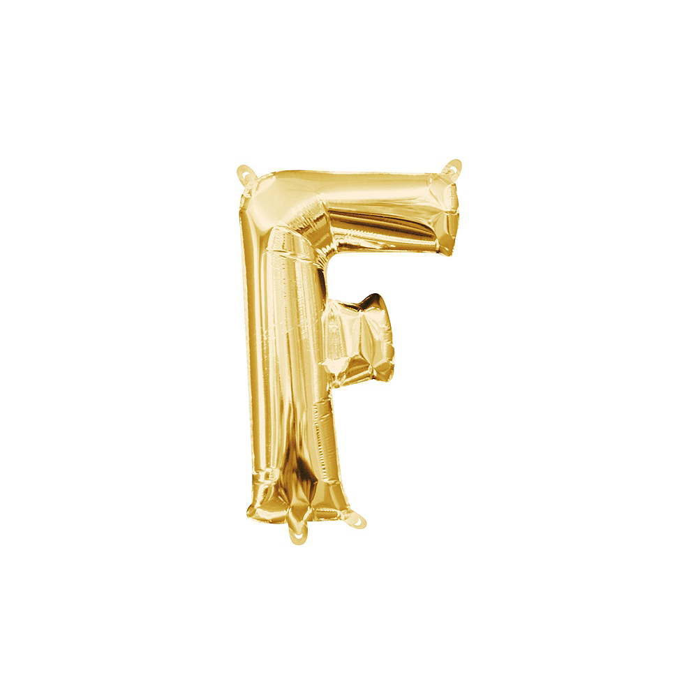 13in Air-Filled Gold Letter Balloon (F) Image #1