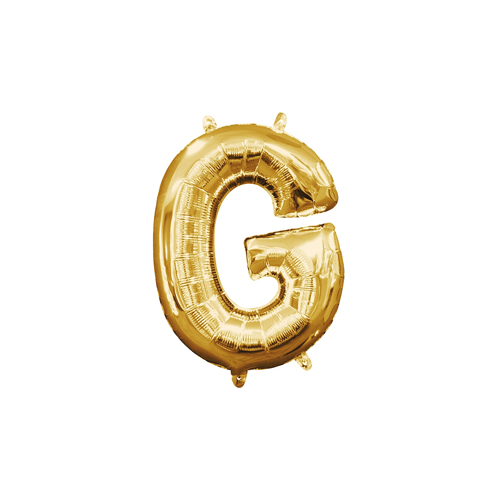 13in Air-Filled Gold Letter Balloon (G) Image #1