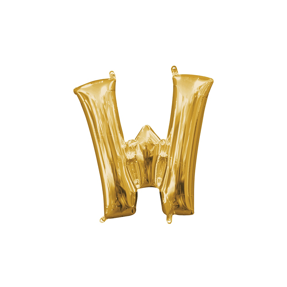 13in Air-Filled Gold Letter Balloon (W) Image #1