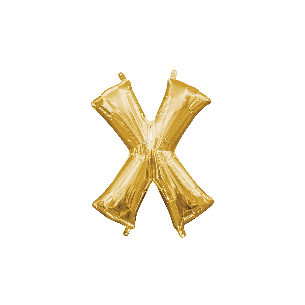 13in Air-Filled Gold Letter Balloon (X) Image #1