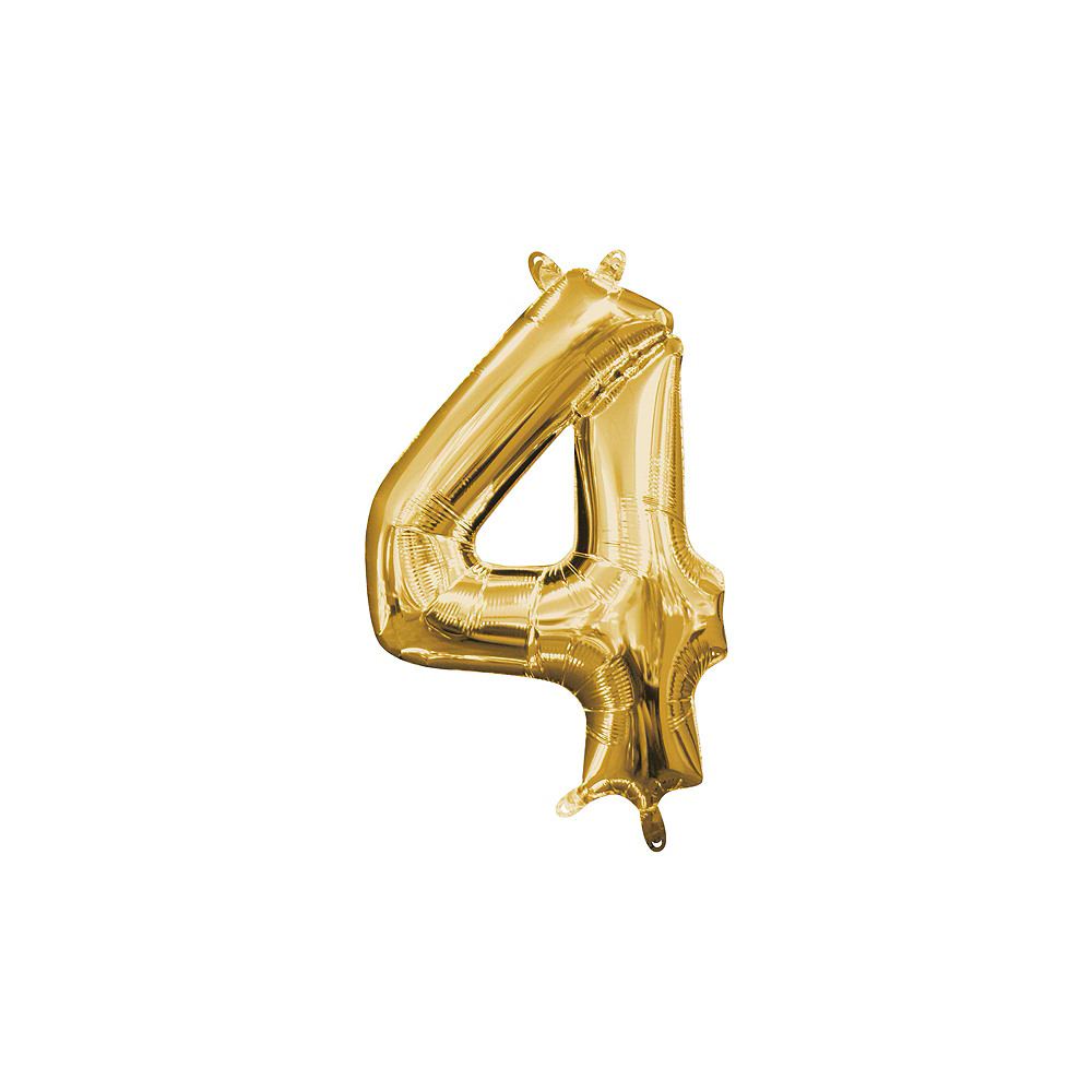 13in Air-Filled Gold Number Balloon (4) Image #1