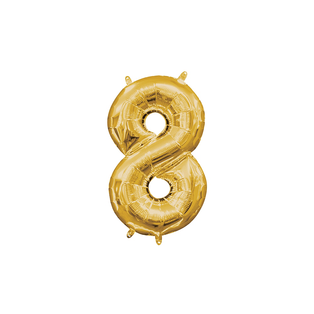 13in Air-Filled Gold Number Balloon (8) Image #1