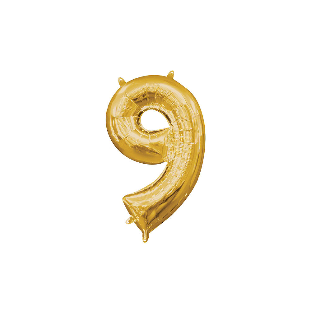 13in Air-Filled Gold Number Balloon (9) Image #1