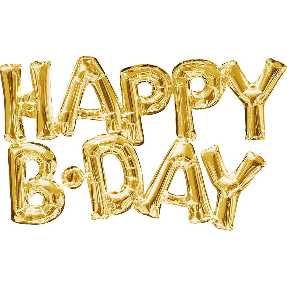 Air-Filled Gold Happy B-Day Letter Balloon Banners 2ct Image #1
