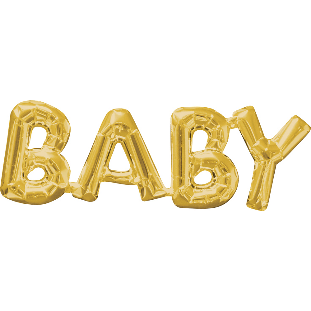 Air-Filled Gold Baby Letter Balloon Banner 26in x 9in | Party City