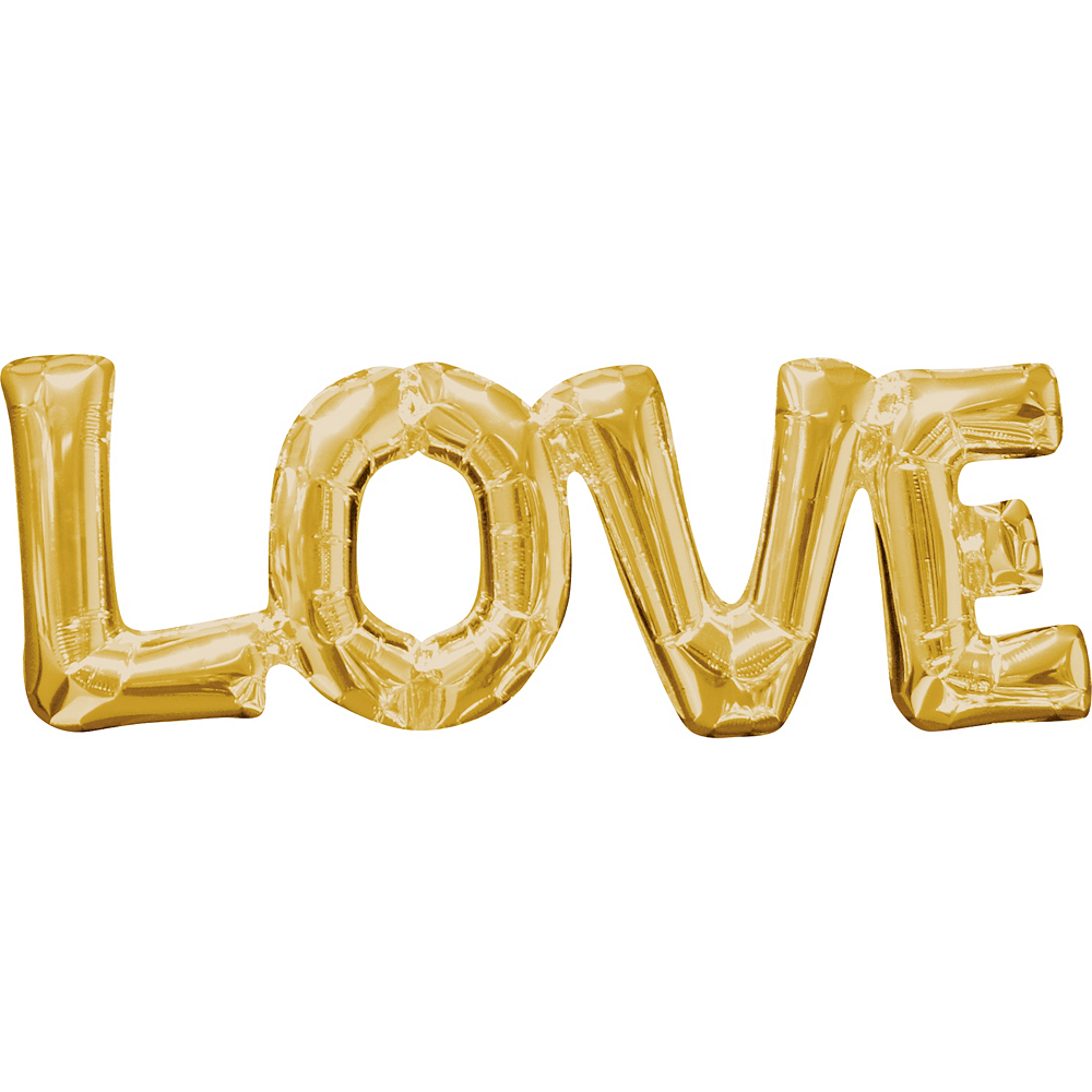 Air-Filled Gold Love Letter Balloon Banner 25in x 9in Image #1