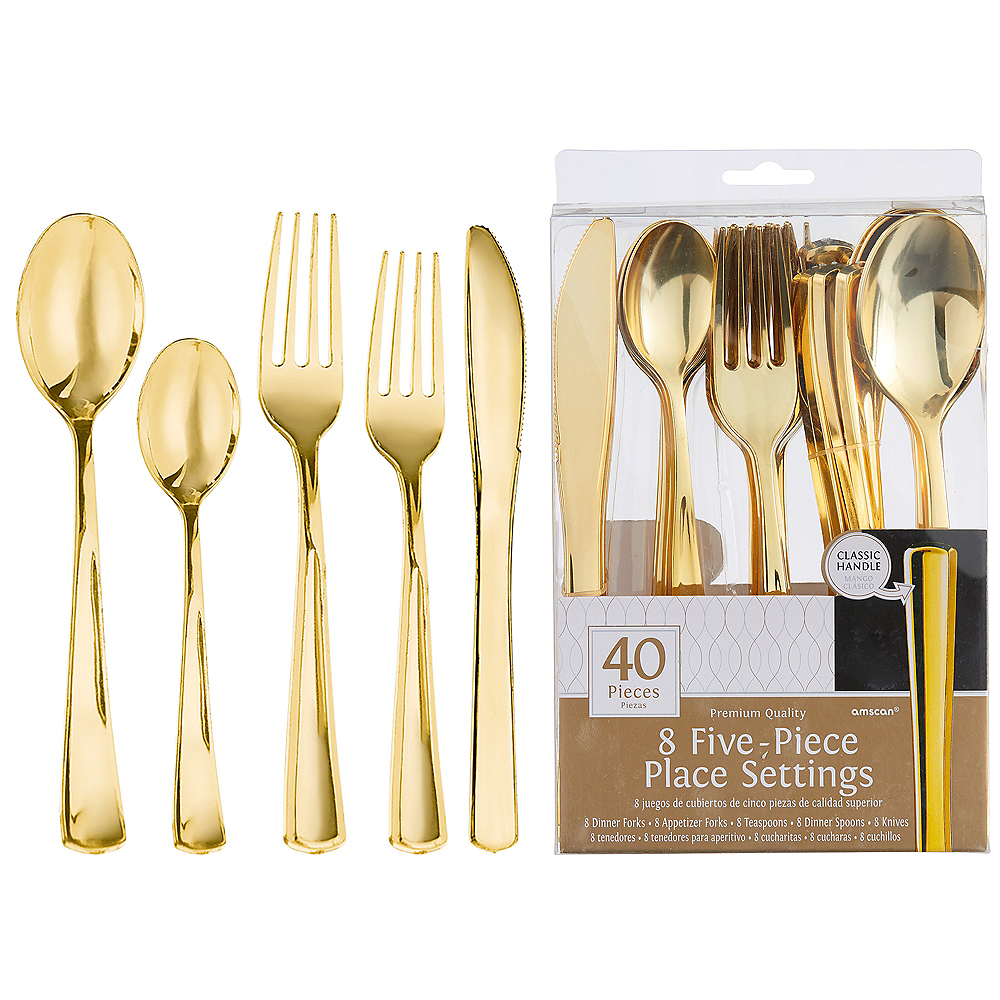 Gold Premium Plastic Five-Piece Cutlery Set 40ct Image #1