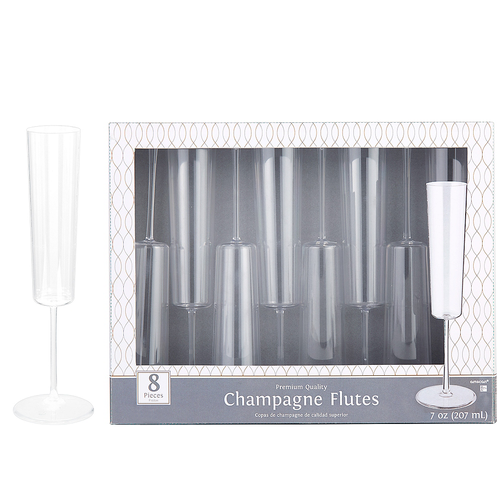 CLEAR Premium Plastic Edge Champagne Flutes 8ct Image #1