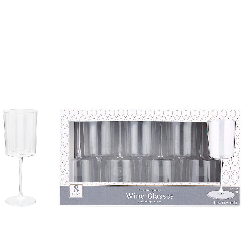 CLEAR Premium Plastic Edge Wine Glasses 8ct Image #1