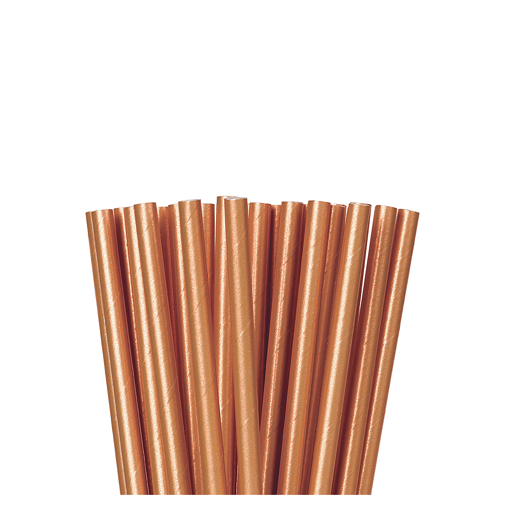 Metallic Rose Gold Paper Straws 24ct Party City