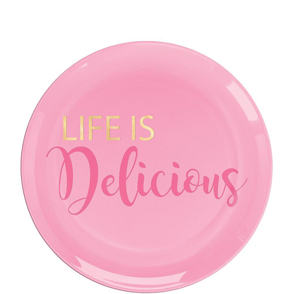 Life Is Delicious Premium Plastic Dessert Plates 20ct Image #1