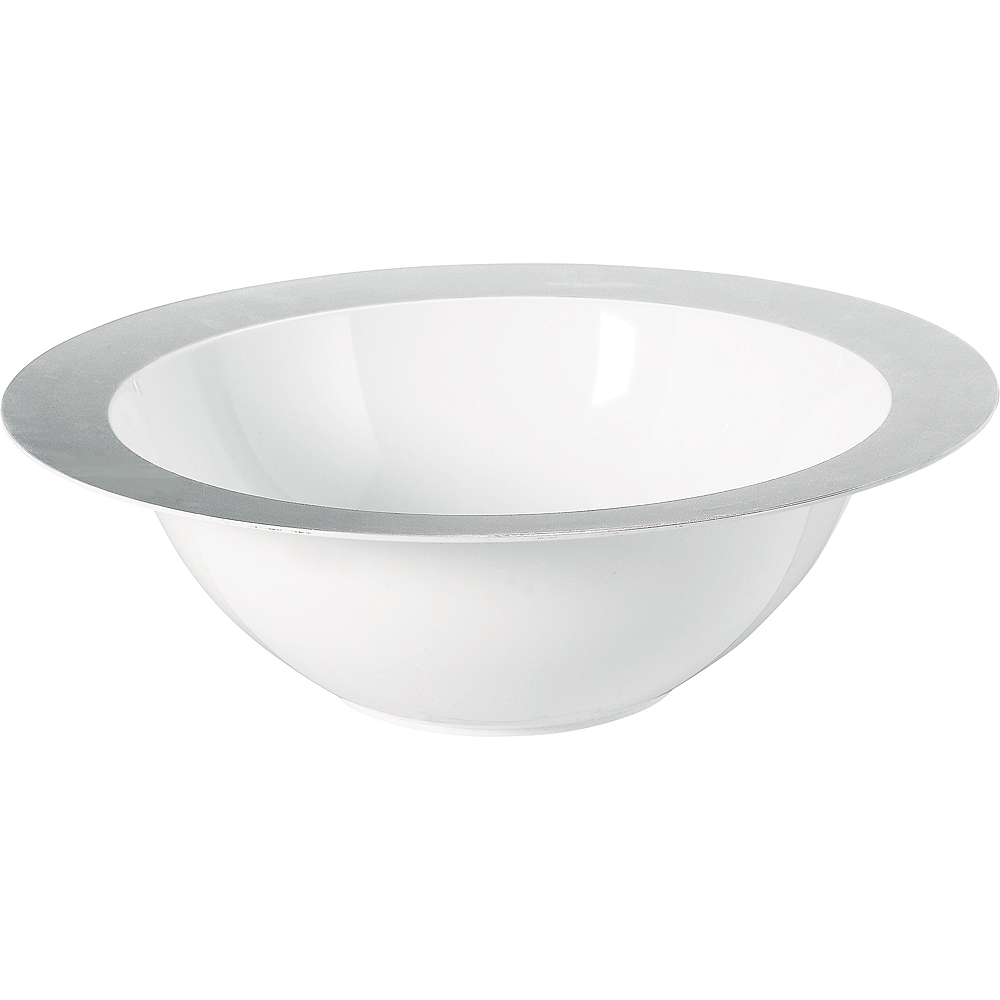 Silver Trimmed White Plastic Serving Bowl Image #1