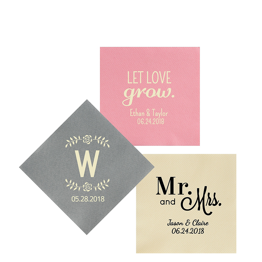 Personalized Wedding Premium Beverage Napkins