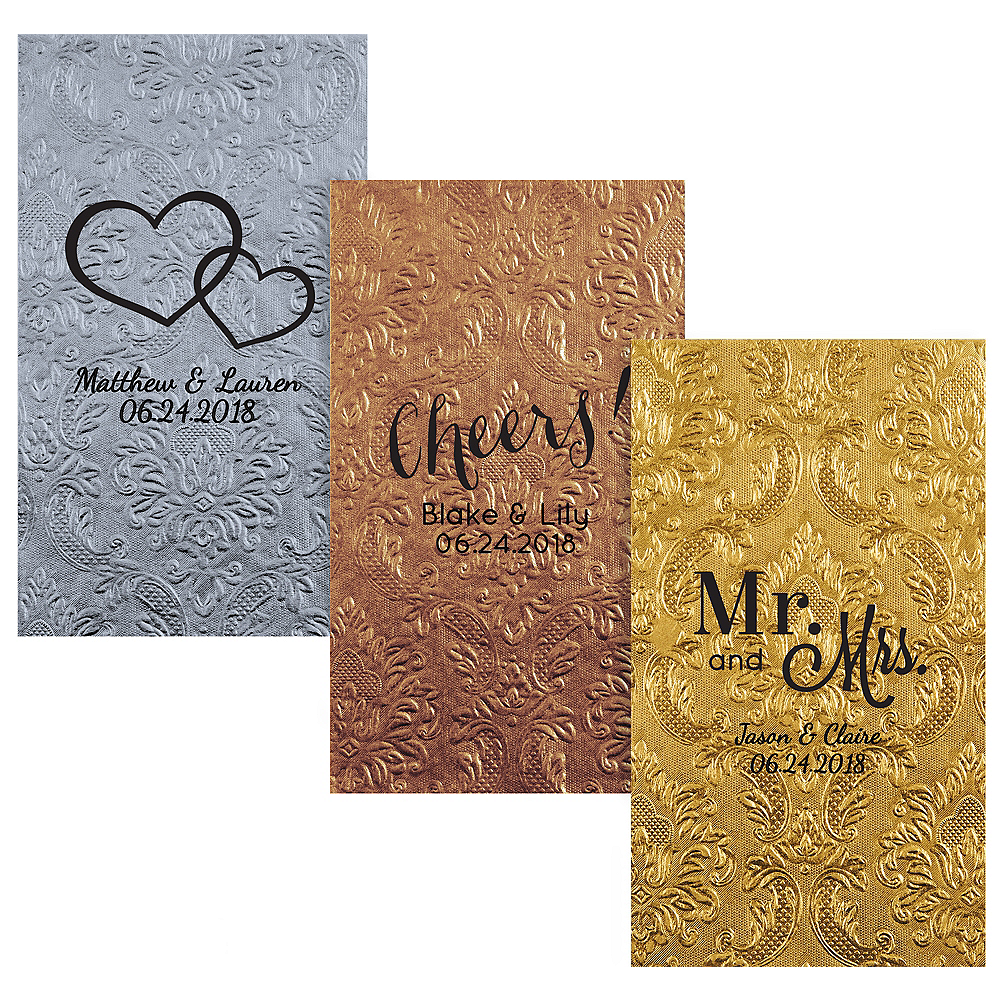 Personalized Wedding Embossed Damask Guest Towels Image 1