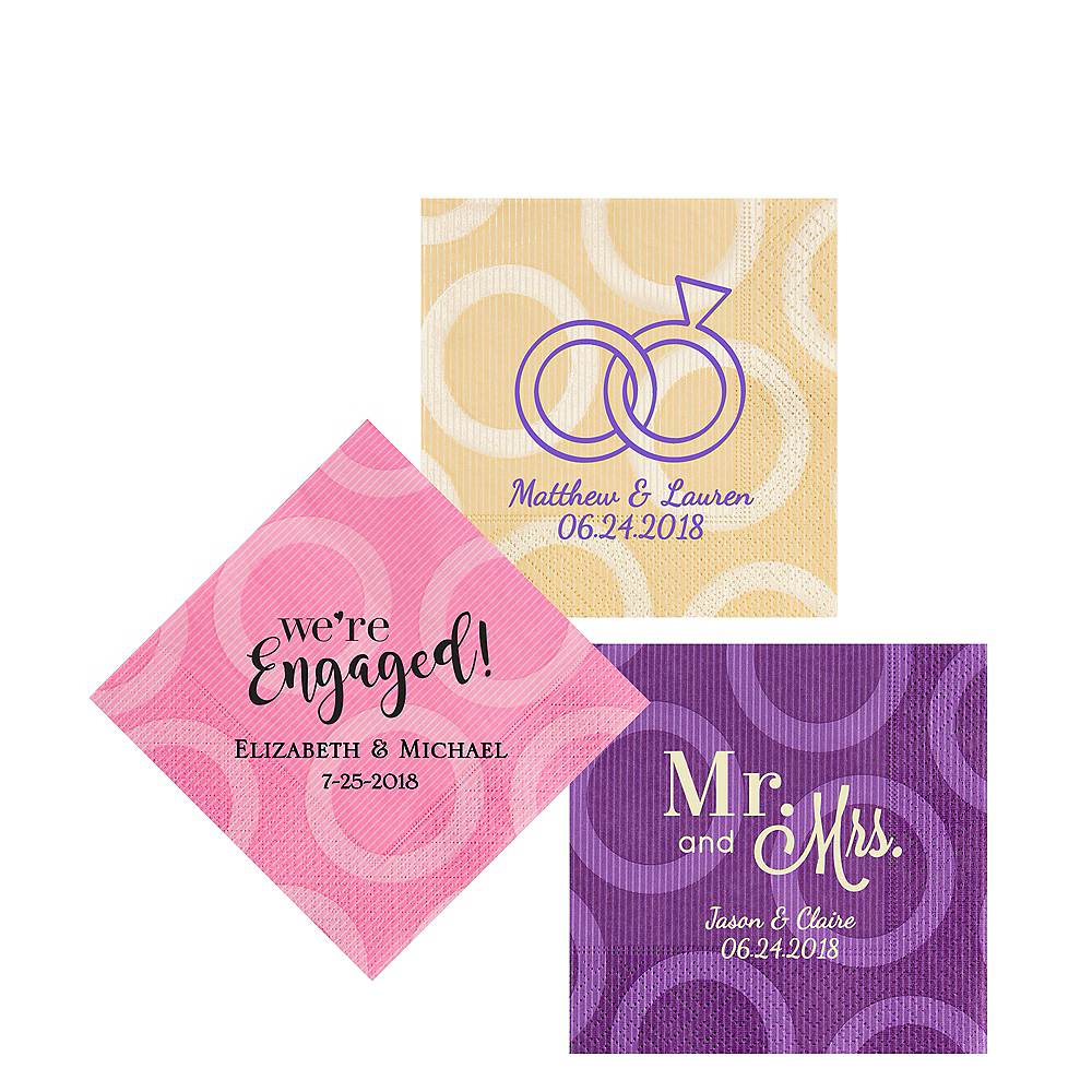 Personalized Wedding Circles Beverage Napkins Image #1