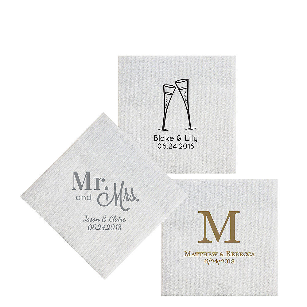 Personalized Wedding Deville Beverage Napkins 8in x 8in  Party City