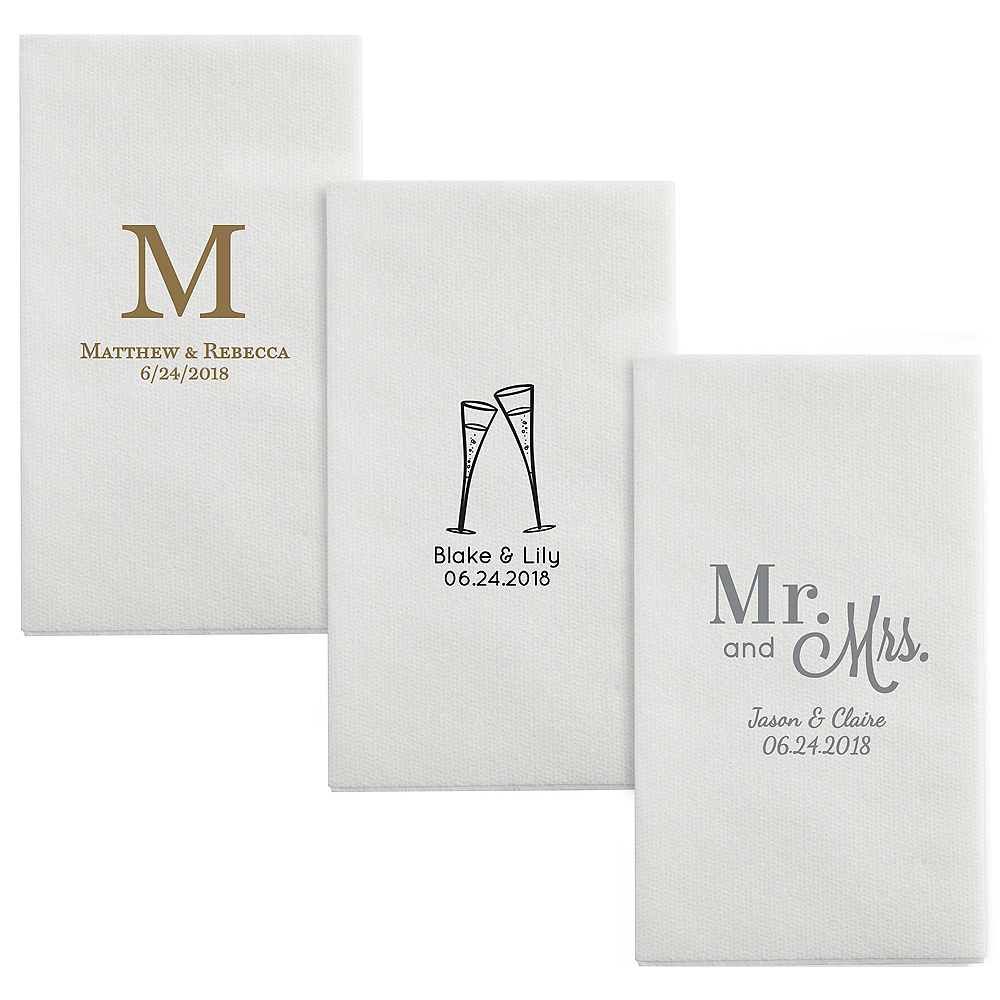 Personalized Wedding Luxury Deville Side-Fold Dinner Napkins Image #1