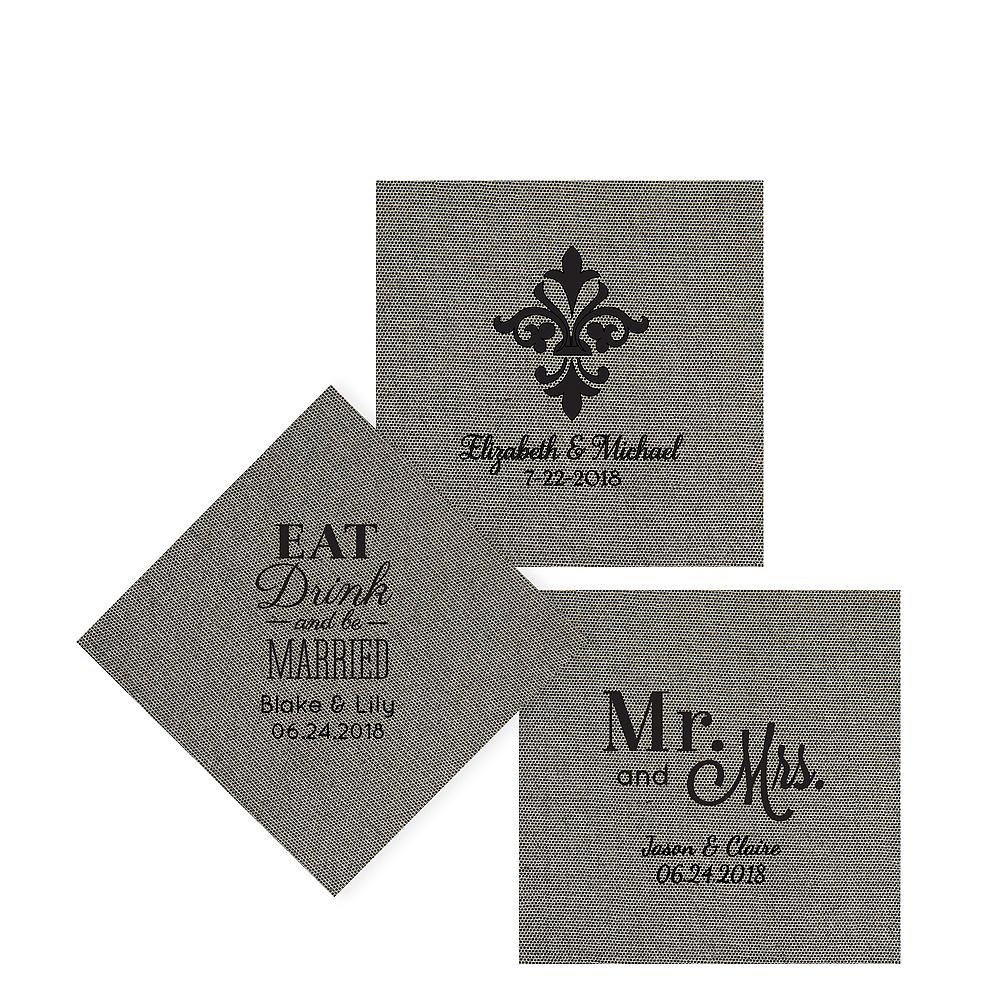 Personalized Wedding Tweed Print Beverage Napkins Image #1