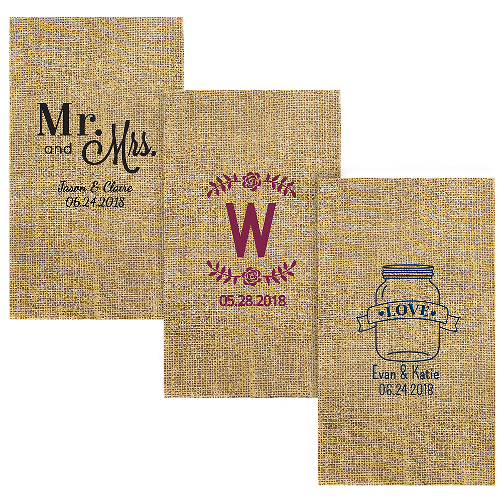 Personalized Wedding Burlap Print Guest Towels Image #1