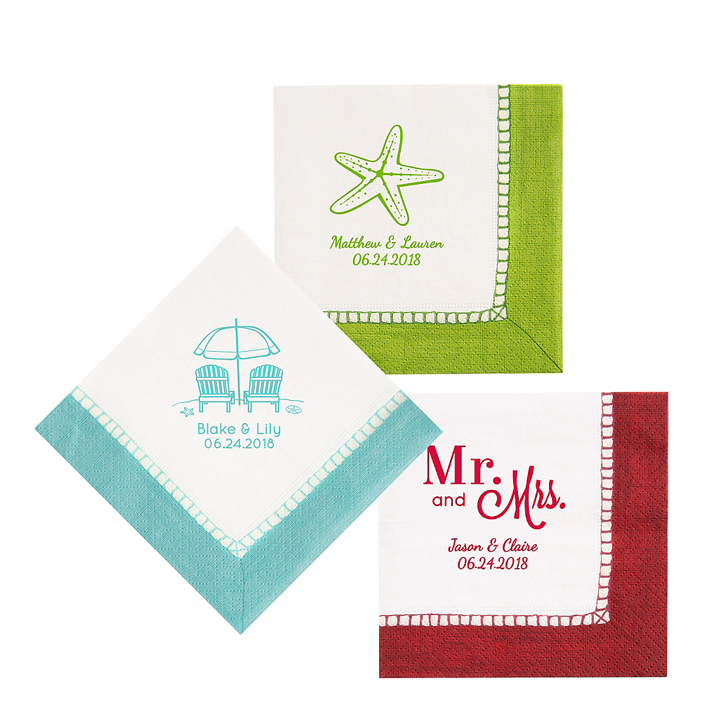 Personalized Wedding Bordered Lunch Napkins Image #1