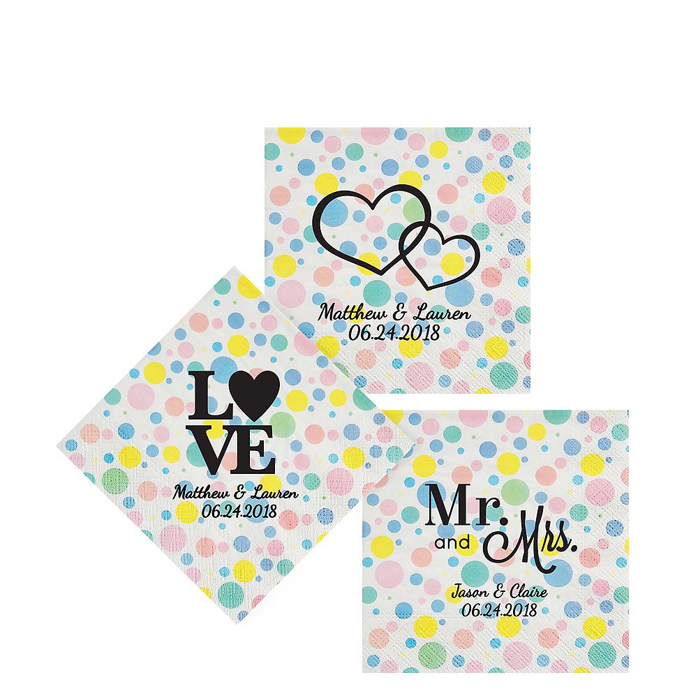 Personalized Wedding Pastel Dots Beverage Napkins Image #1
