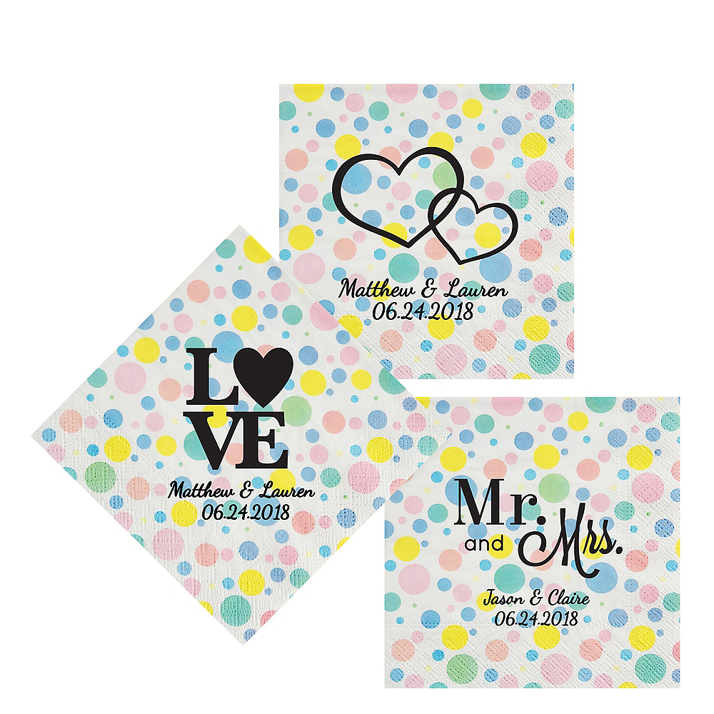 Personalized Wedding Pastel Dots Lunch Napkins Image #1