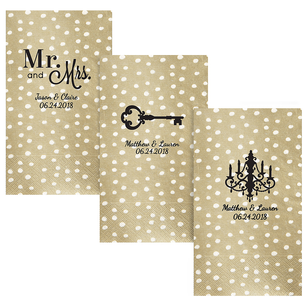 Personalized Wedding Small Dots Guest Towels Image #1