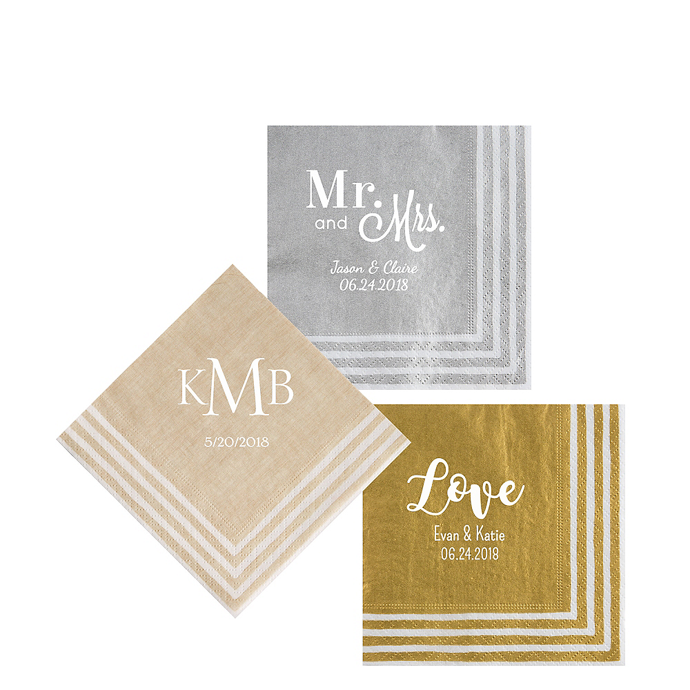 Personalized Wedding Stripe Border Beverage Napkins Image #1