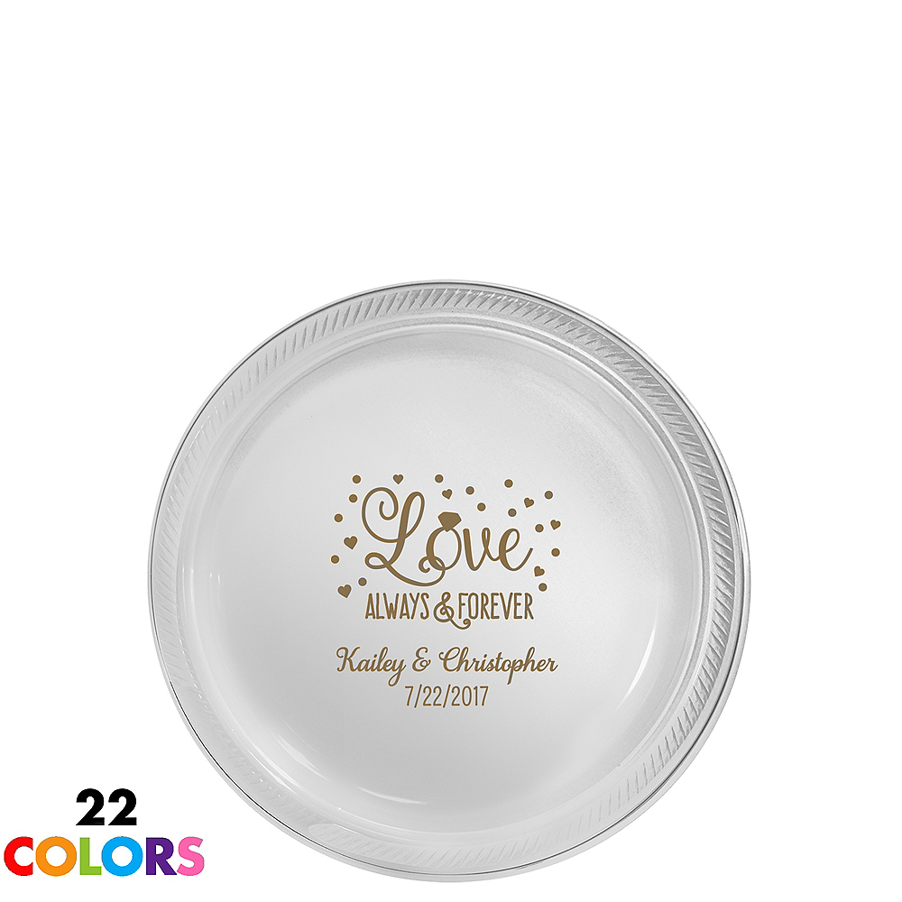 Personalized Wedding Plastic Dessert Plates Image #1