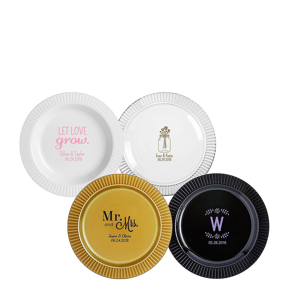 Personalized Wedding Premium Plastic Dessert Plates Image #1