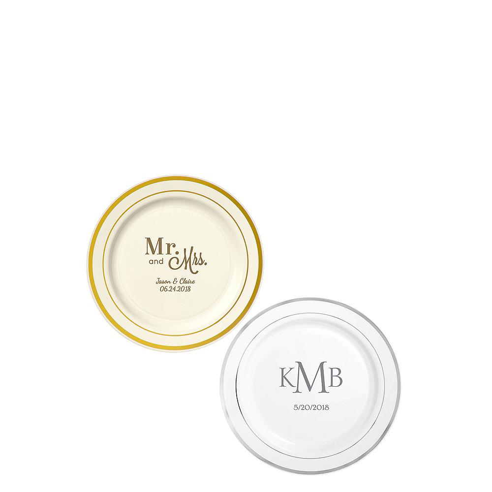 Personalized Wedding Trimmed Premium Plastic Dessert Plates Image #1