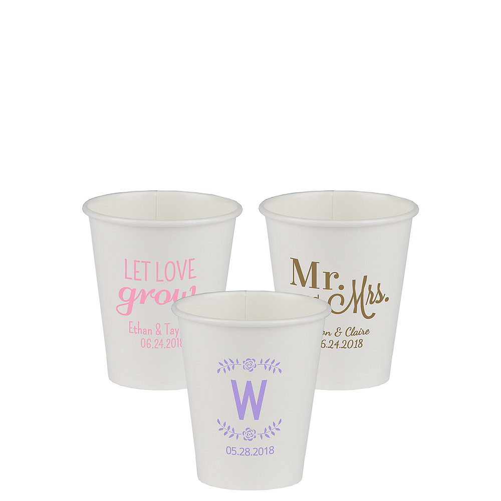 Personalized Wedding Paper Cups 8oz Image #1