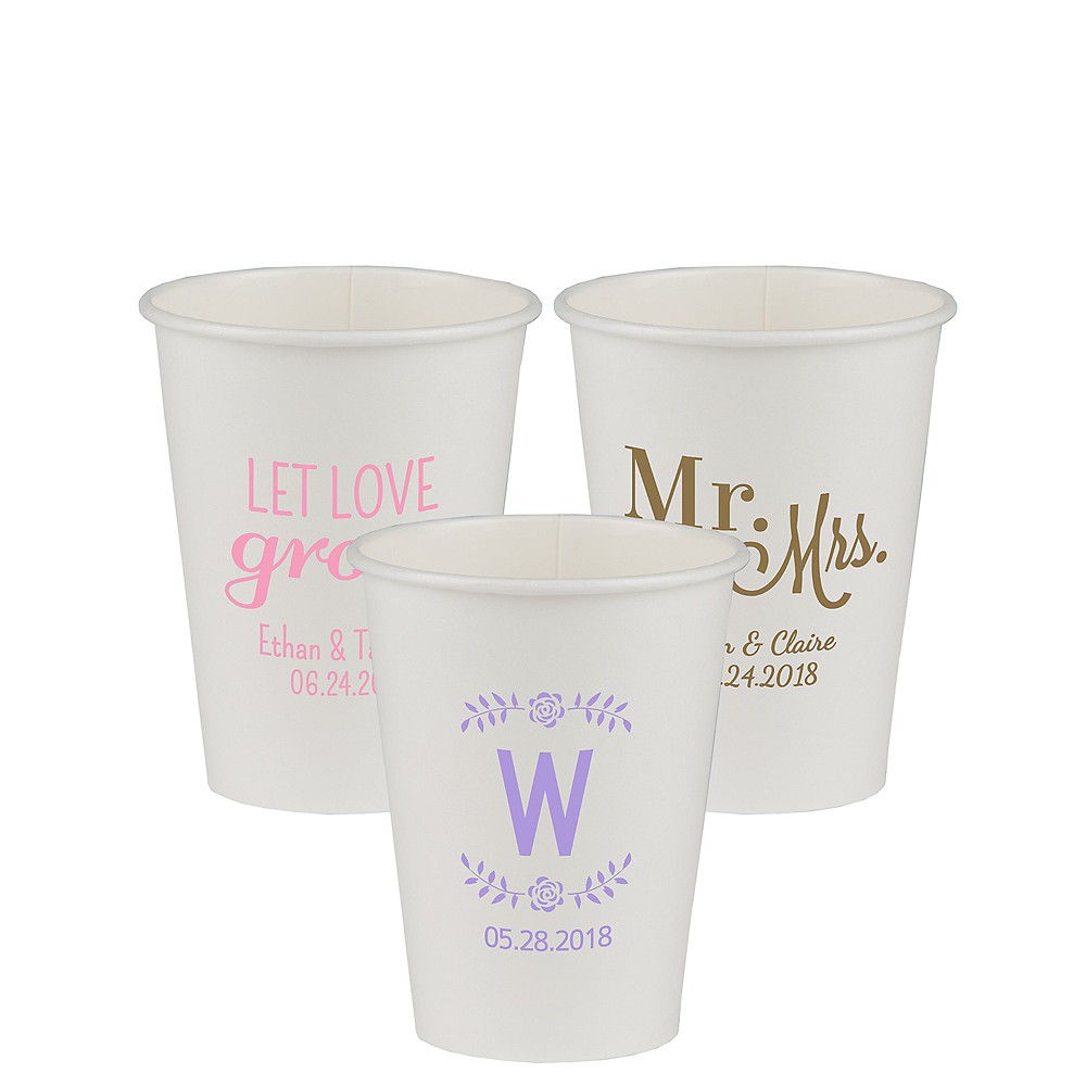 Personalized Wedding Paper Cups 12oz Image #1