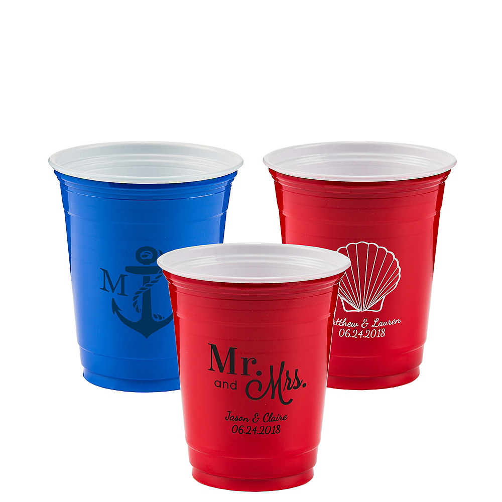 Personalized Wedding Solid Color Plastic Party Cups 12oz Image #1