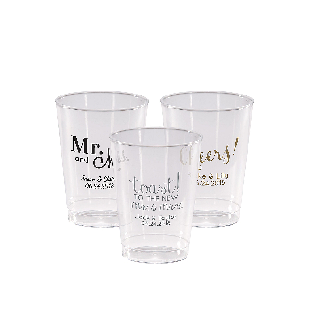 Personalized Wedding Hard Plastic Cups 10oz