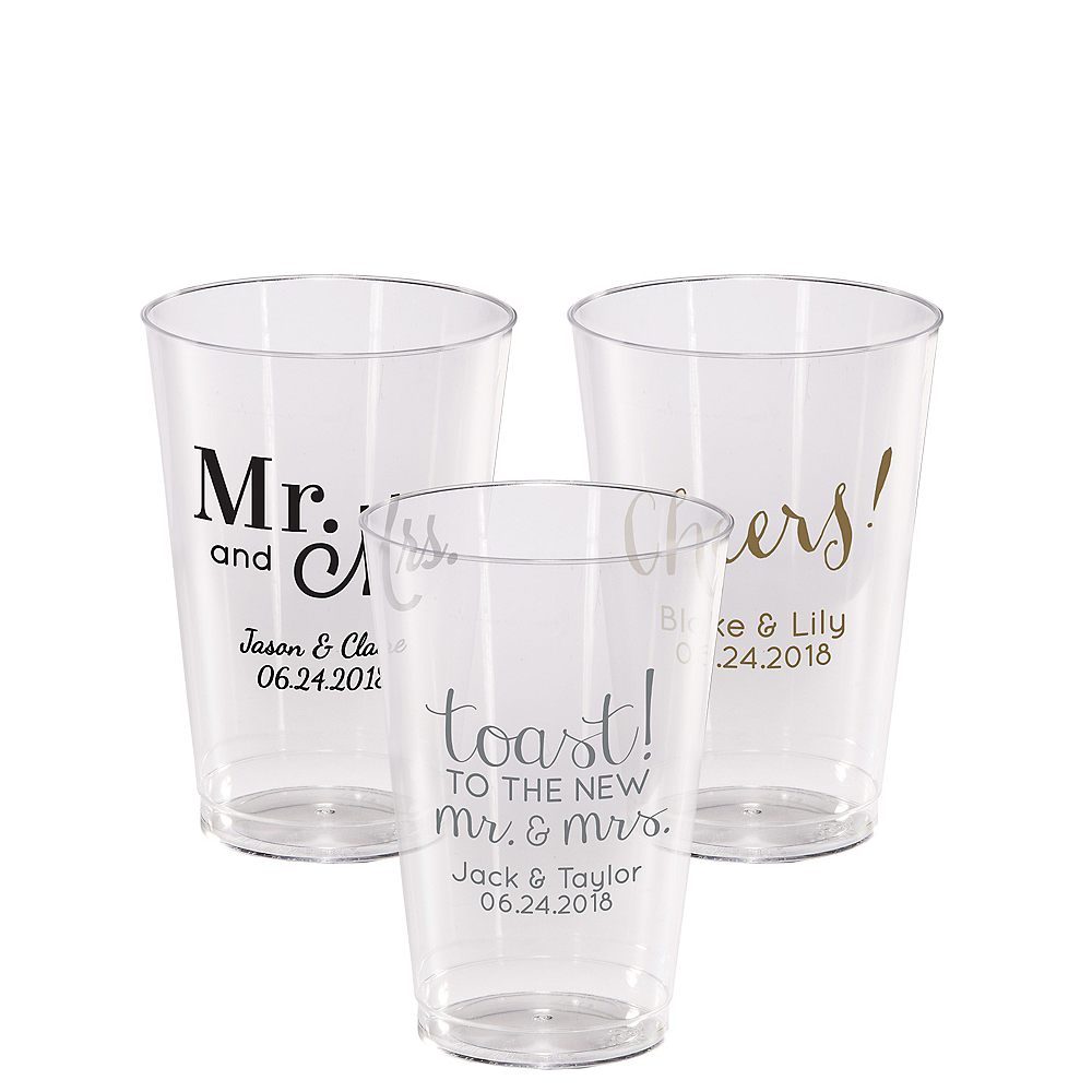 Personalized Wedding Hard Plastic Cups 14oz Image #1