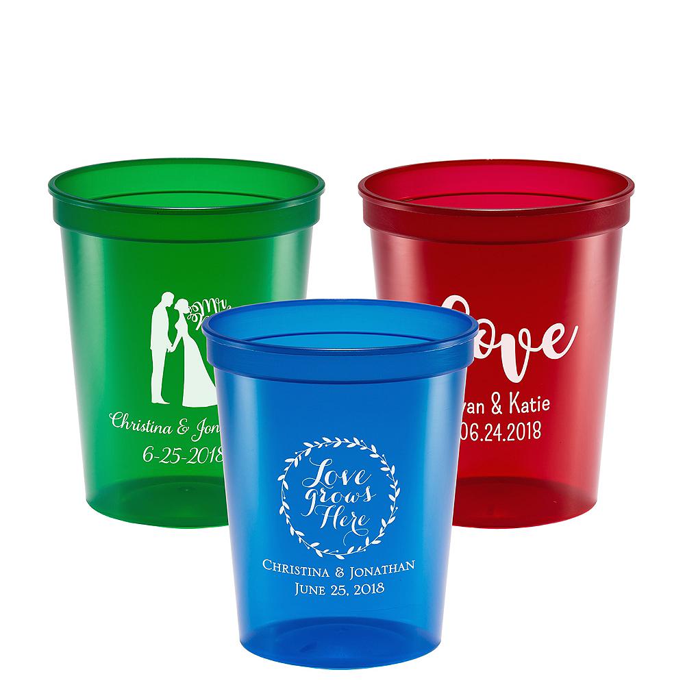 Personalized Wedding Translucent Plastic Stadium Cups 16oz Image #1