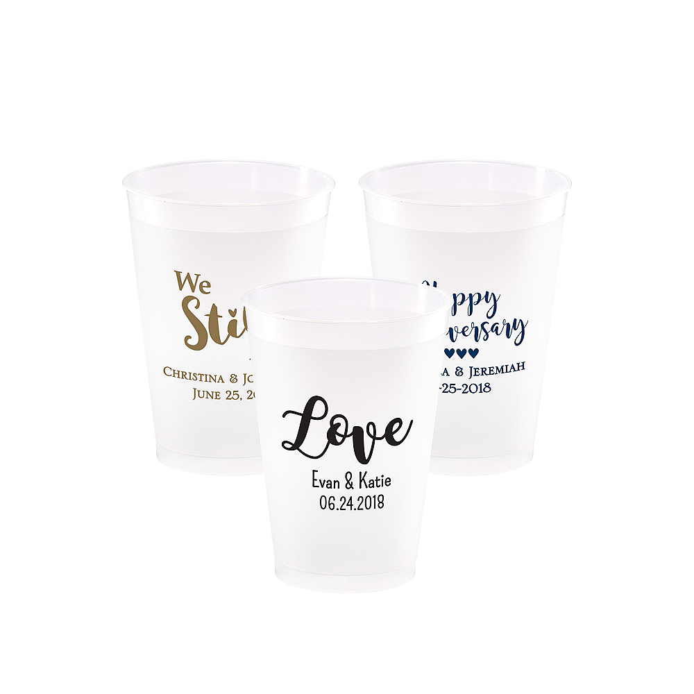 Personalized Wedding Frosted Plastic Shatterproof Cups 12oz Image #1