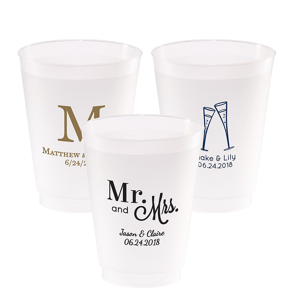 Personalized Wedding Frosted Plastic Shatterproof Cups 20oz Image #1