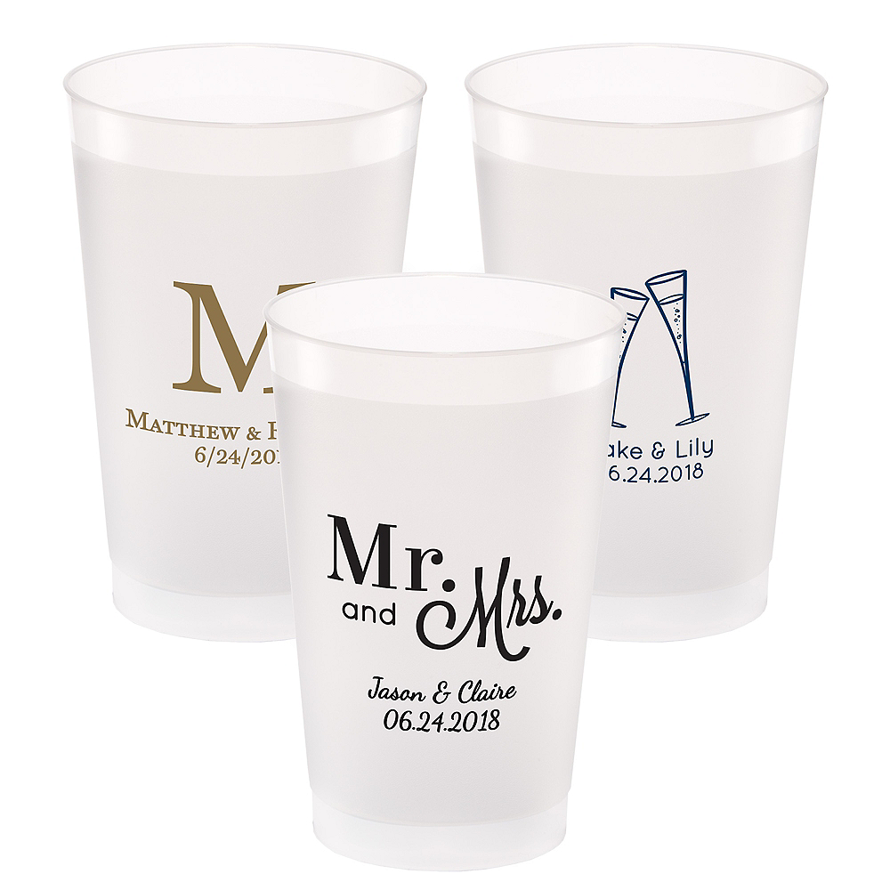 Personalized Wedding Frosted Plastic Shatterproof Cups 24oz Image #1